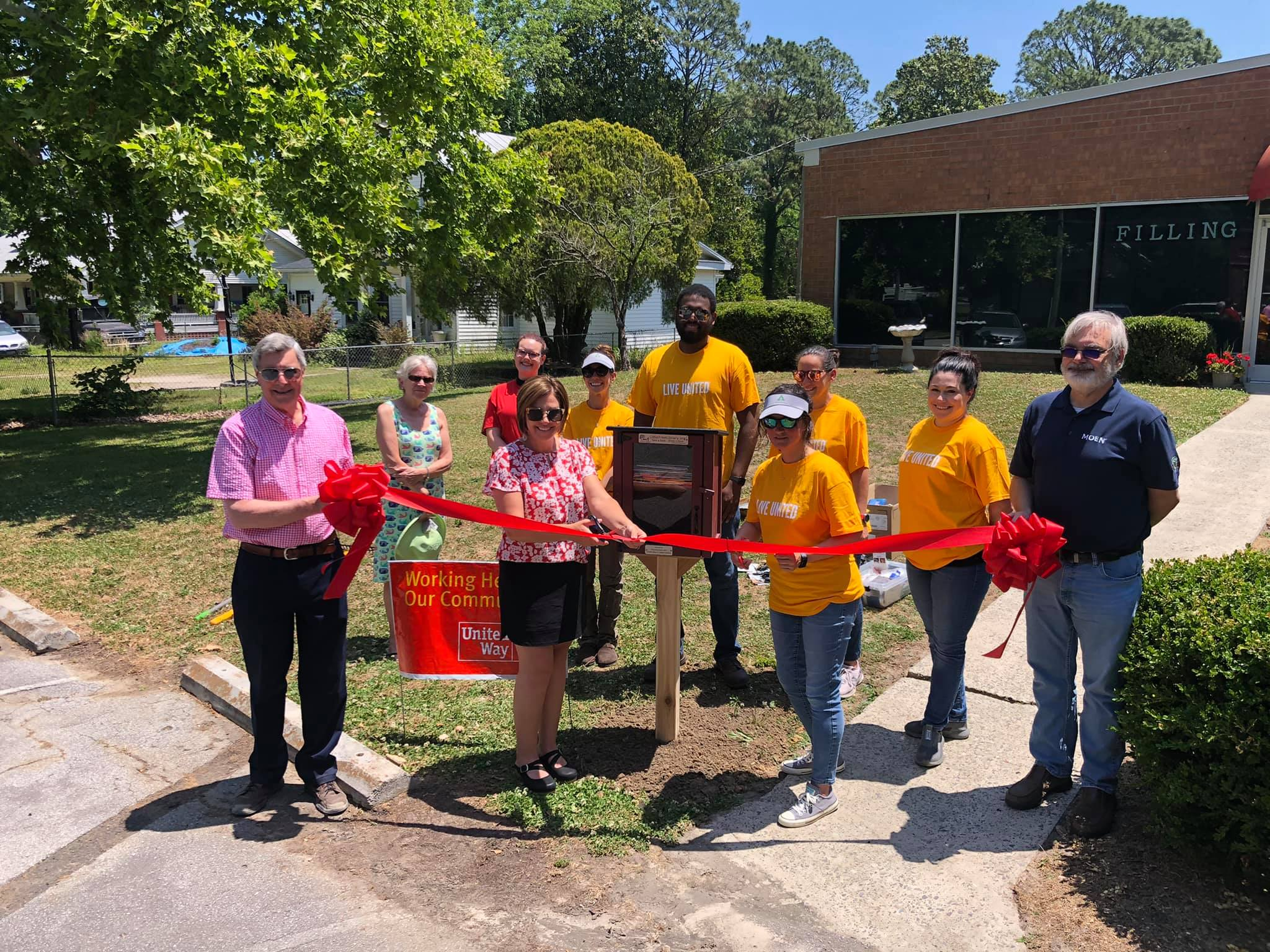 Little Library Ribbon Cutting at the Filling Station in Pollocksville, NC